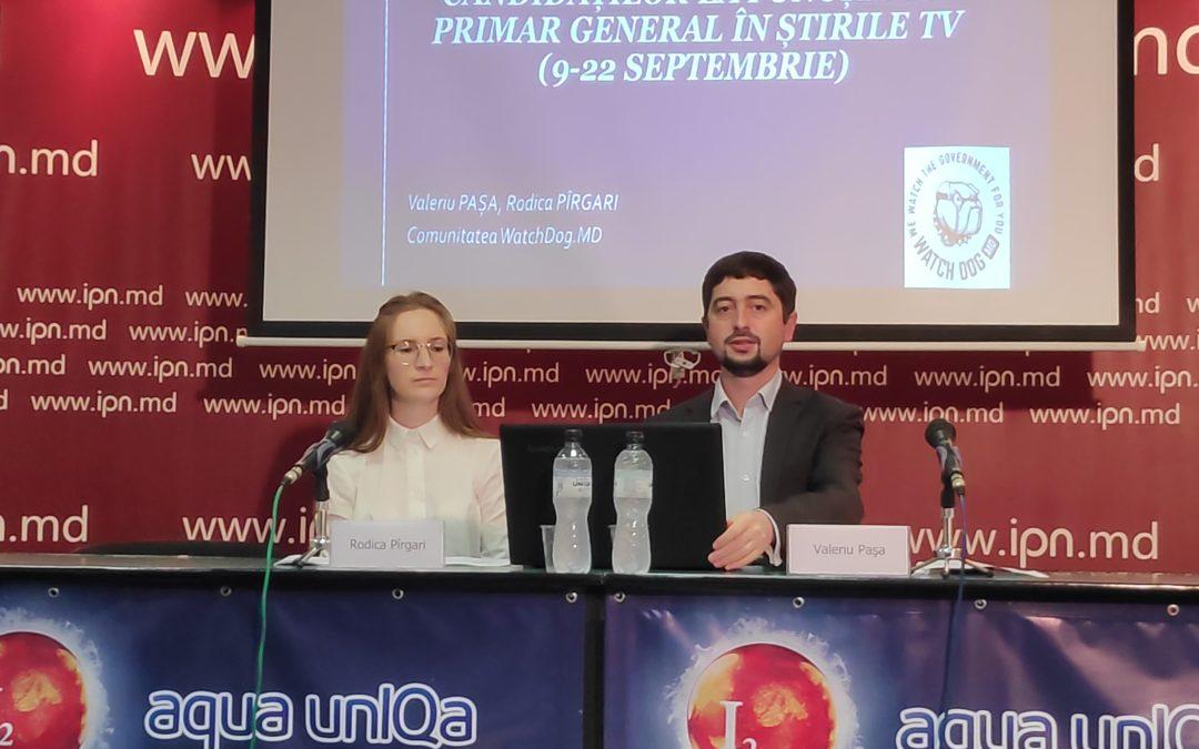 WatchDog.MD a lansat raportul de monitorizare a prezenței candidaților la funcția de primar general în știrile TV